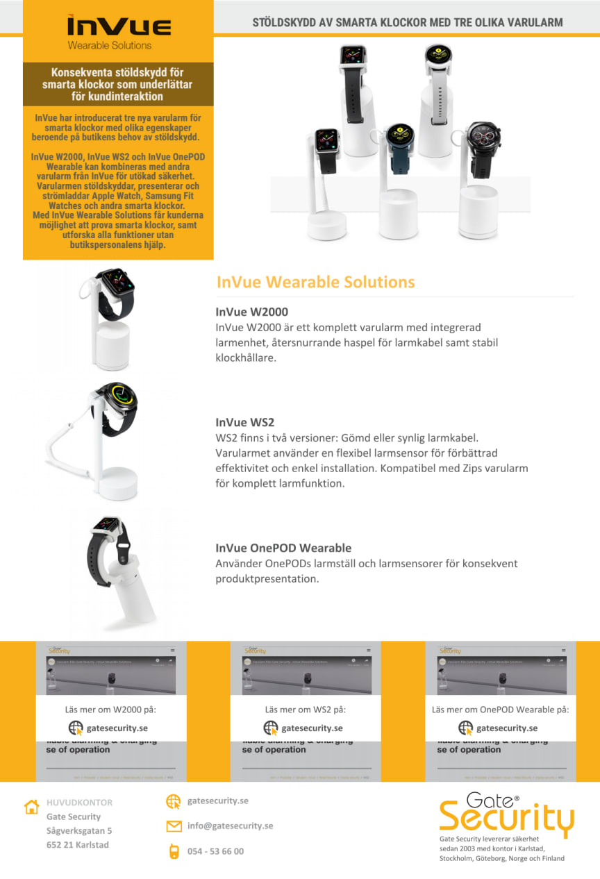 Stöldskydd av smarta klockor med tre olika varularm