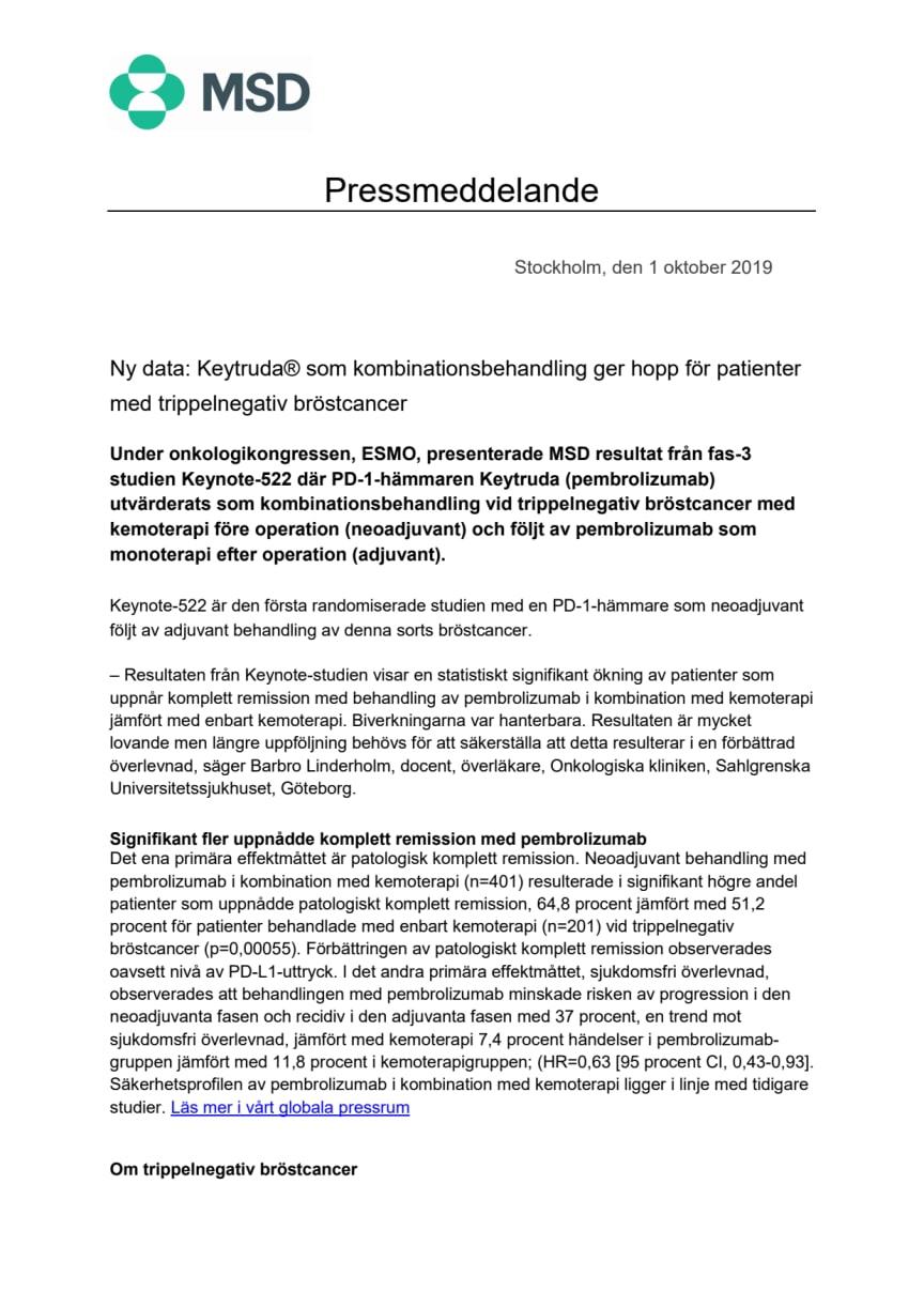 Ny data: Keytruda® som kombinationsbehandling ger hopp för patienter med trippelnegativ bröstcancer