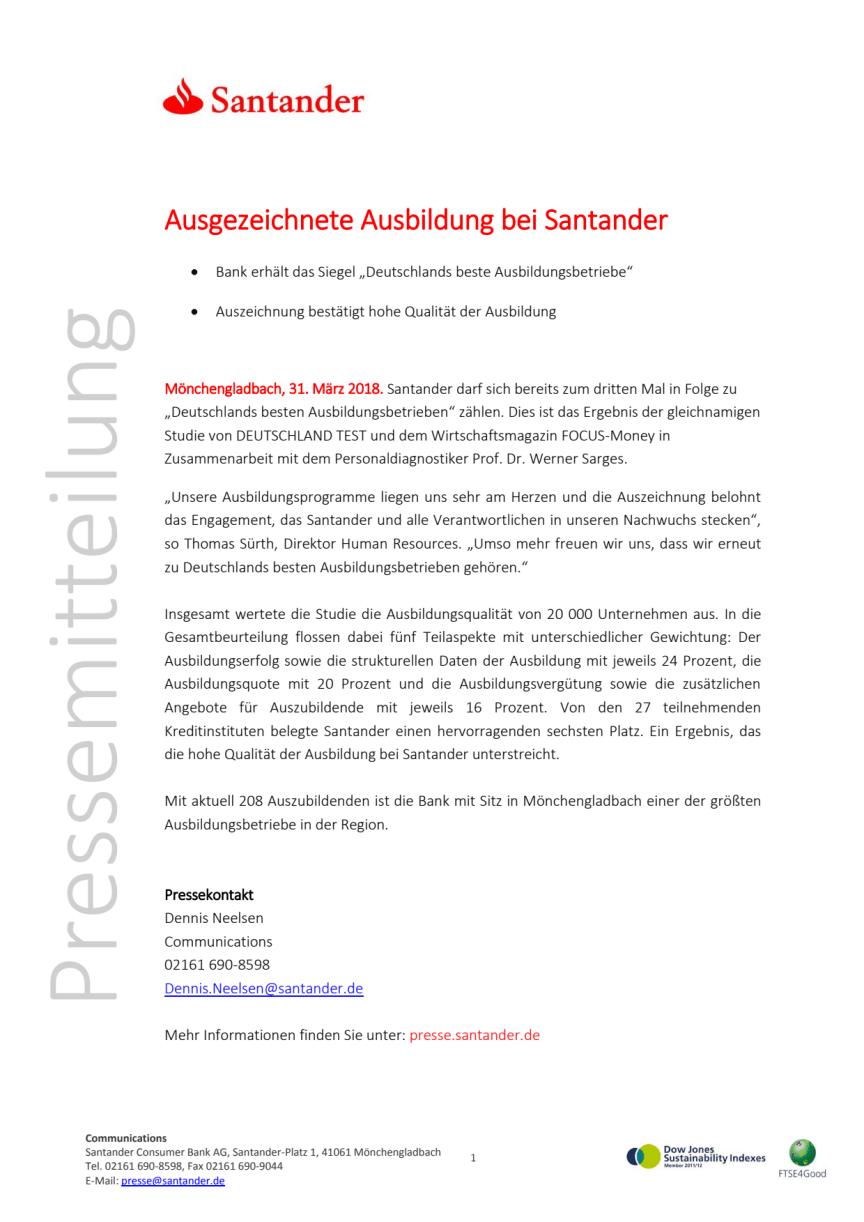 Ausgezeichnete Ausbildung bei Santander