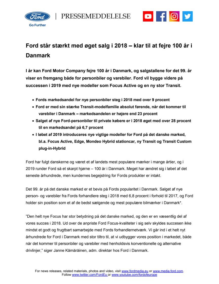 Ford står stærkt med øget salg i 2018 – klar til at fejre 100 år i Danmark