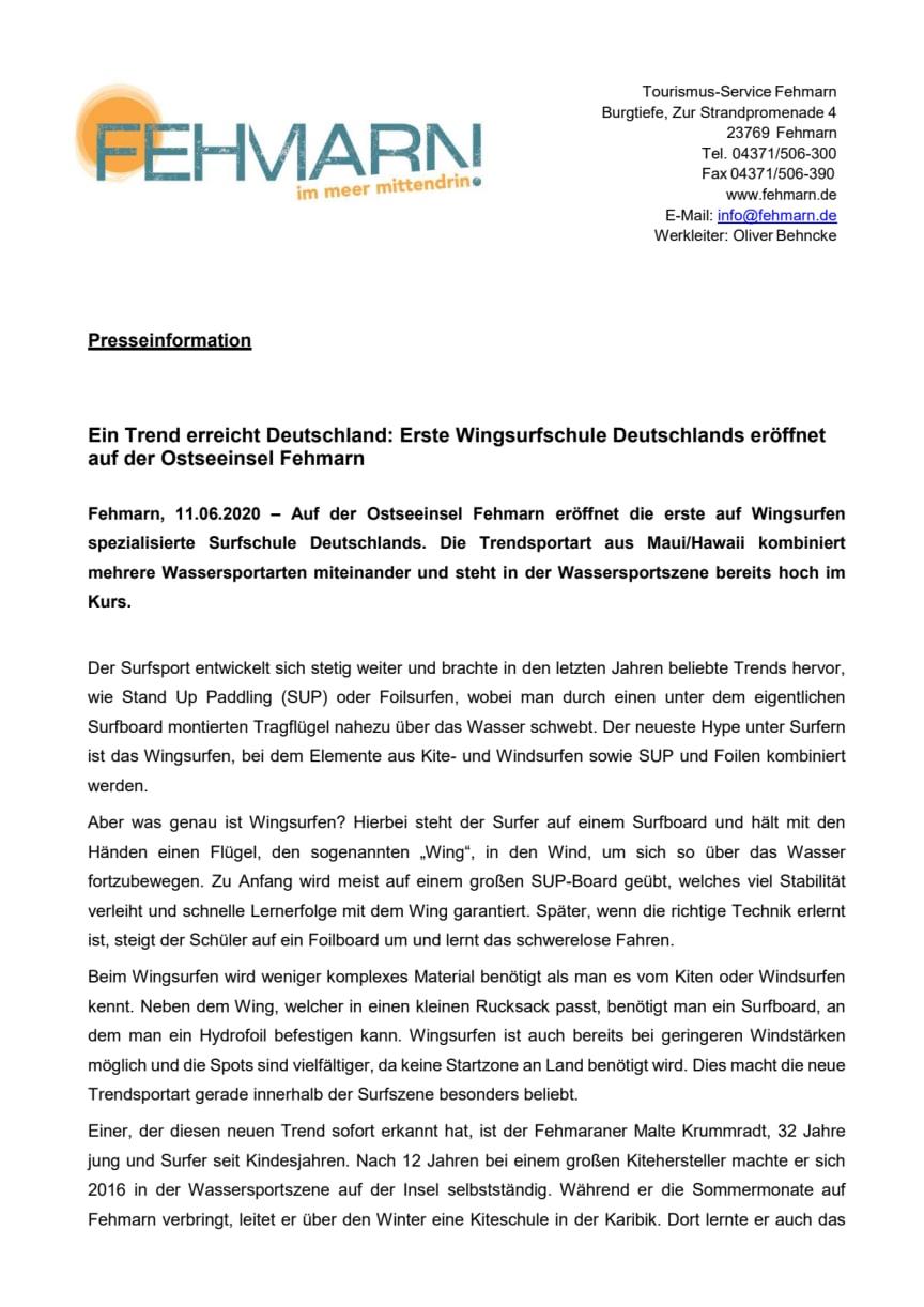 Ein Trend erreicht Deutschland: Erste Wingsurfschule Deutschlands eröffnet auf der Ostseeinsel Fehmarn