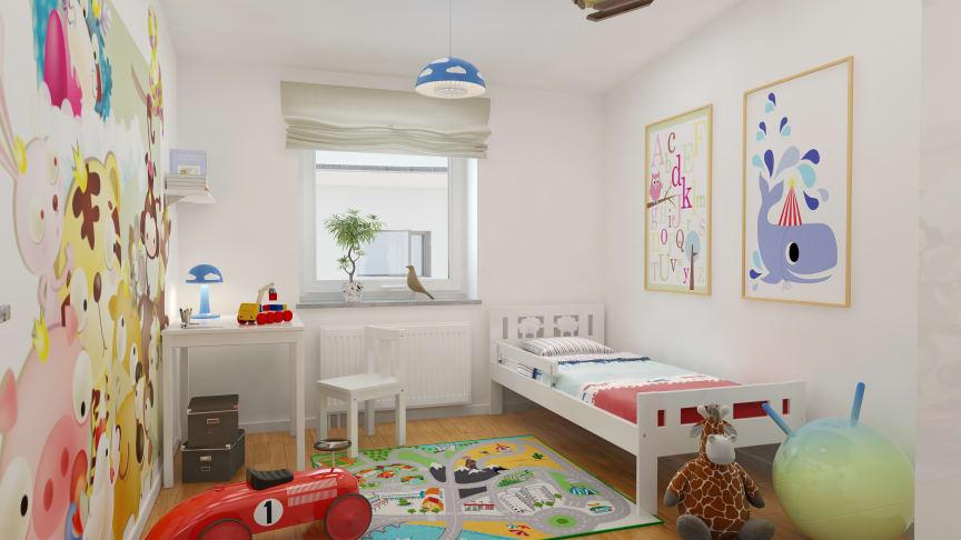 Kastmyntsgatan Högsbohöjd nybyggda hus, sovrum för barn