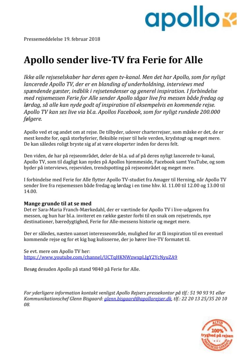 Apollo sender live-TV fra Ferie for Alle