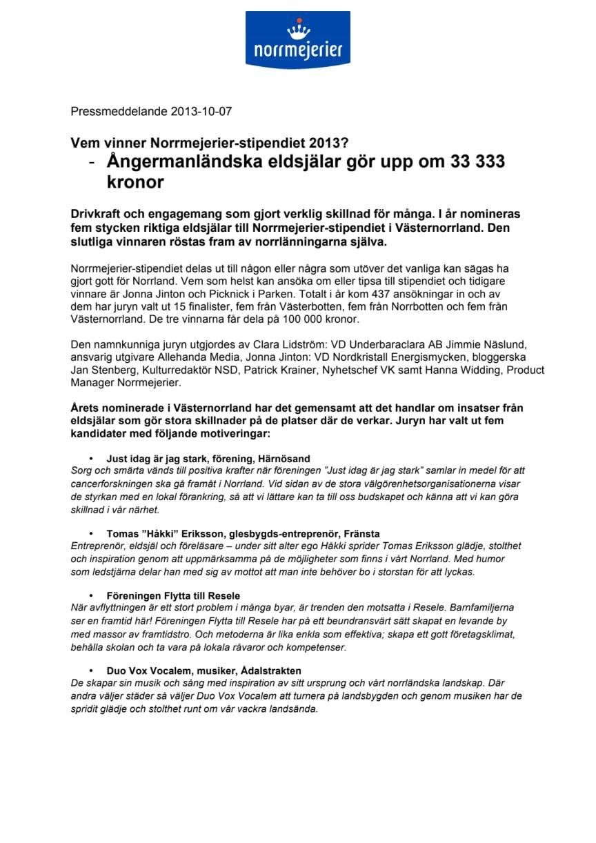 Vem vinner Norrmejerier-stipendiet 2013? -Ångermanländska eldsjälar gör upp om 33 333 kronor