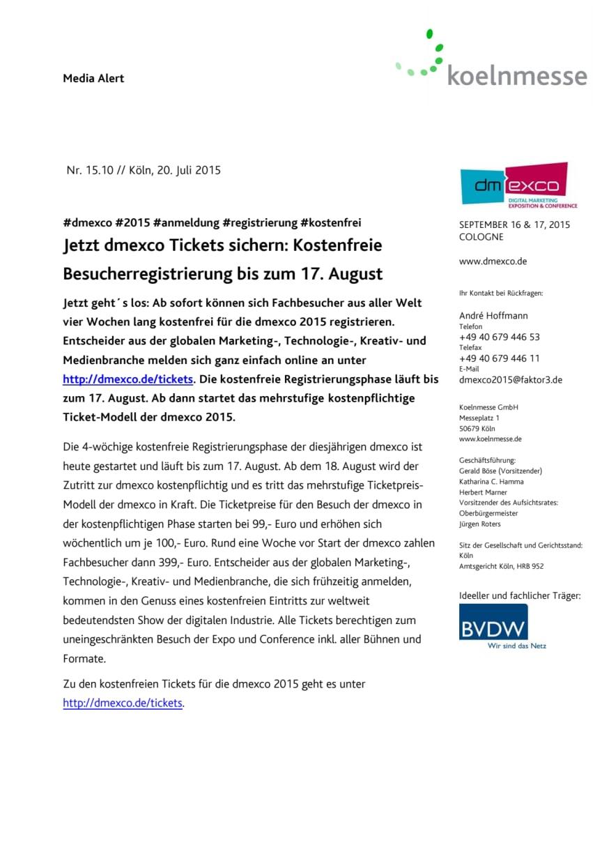 Jetzt dmexco Tickets sichern: Kostenfreie Besucherregistrierung bis zum 17. August