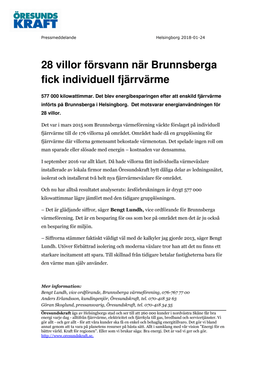28 villor försvann när Brunnsberga fick individuell fjärrvärme