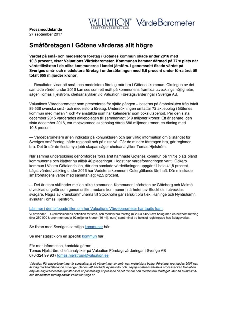 Värdebarometern 2017 Götenes kommun