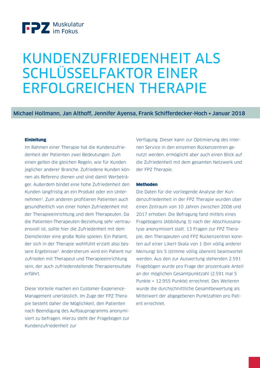 """Handout zur FPZ Studie """"Kundenzufriedenheit als Schlüsselfaktor einer erfolgreichen Therapie"""""""