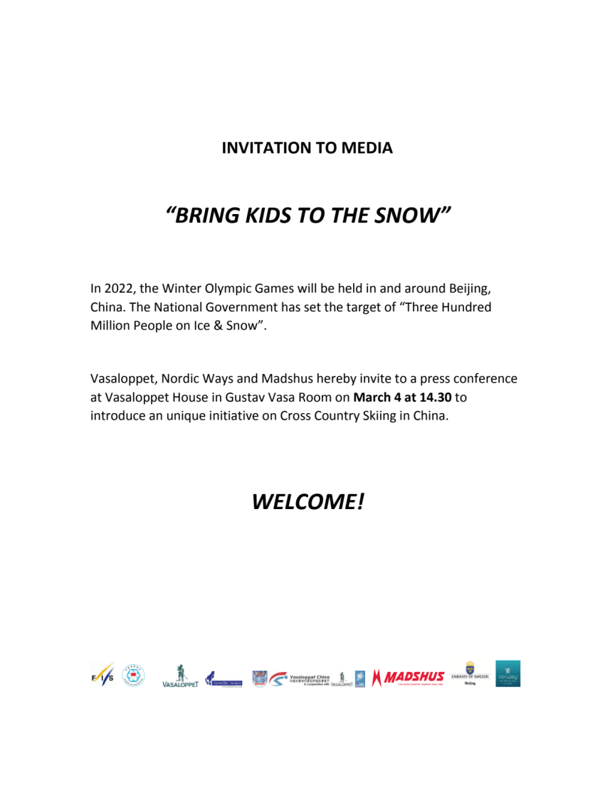 """INVITATION TO MEDIA: """"BRING KIDS TO THE SNOW"""""""