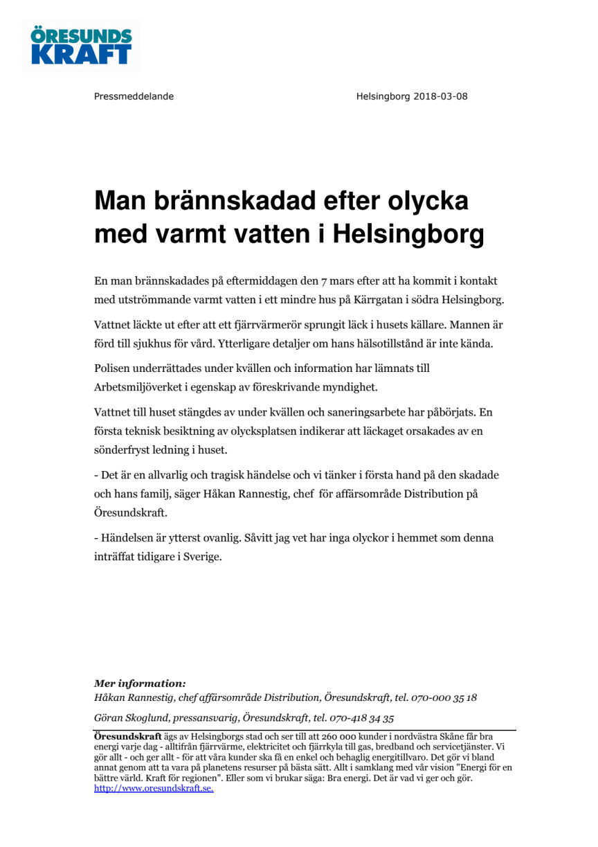 Man brännskadad efter olycka med varmt vatten i Helsingborg