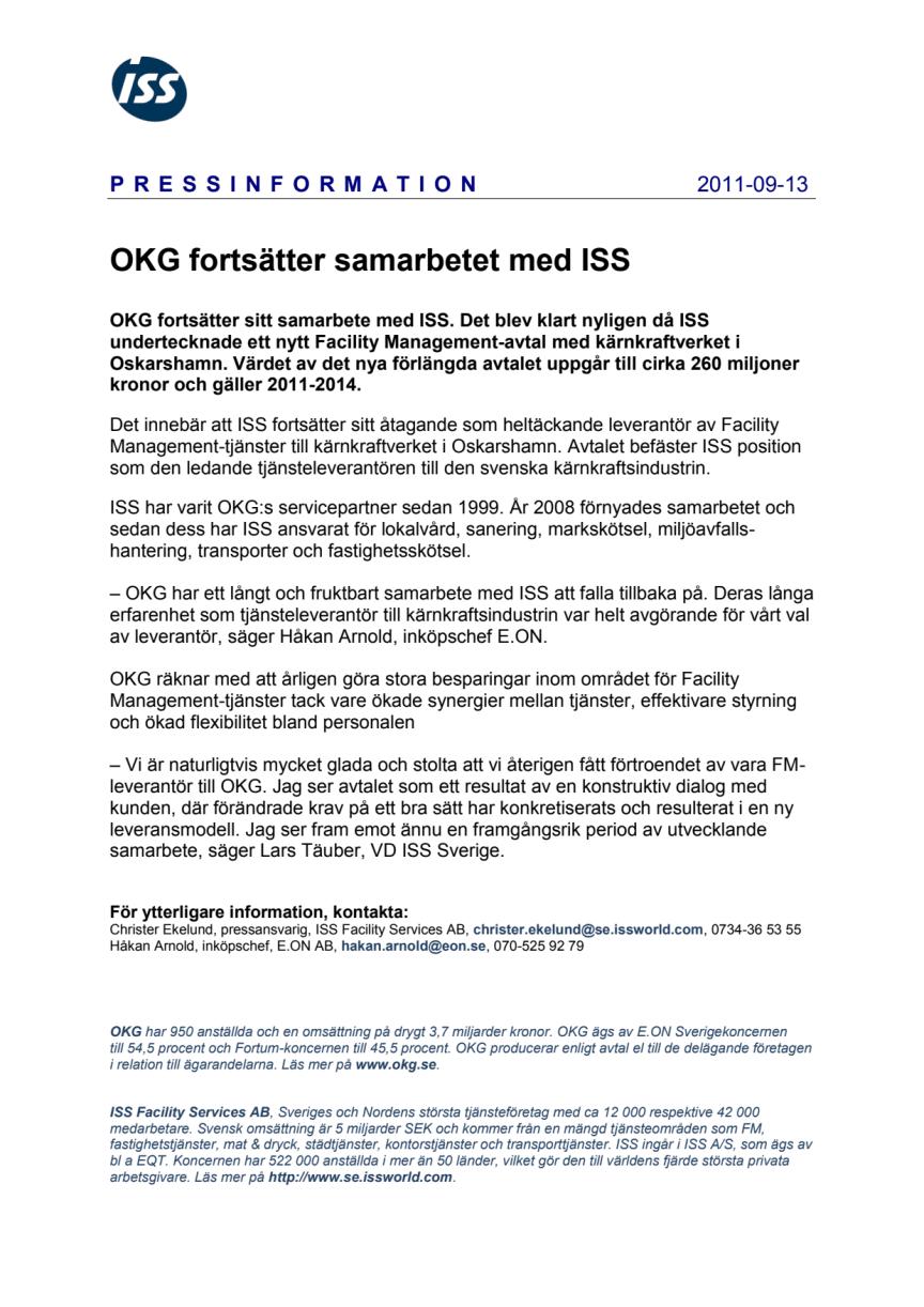 OKG fortsätter samarbetet med ISS