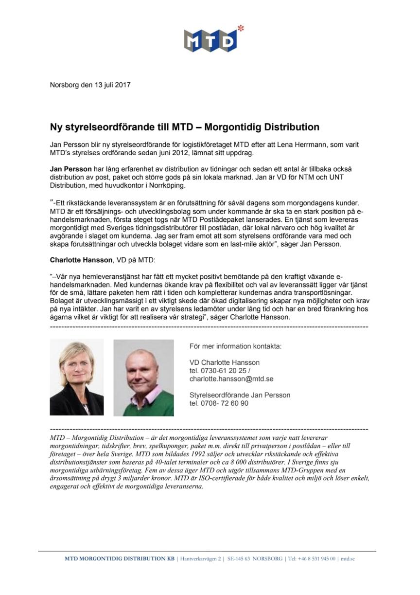 Ny styrelseordförande till MTD – Morgontidig Distribution