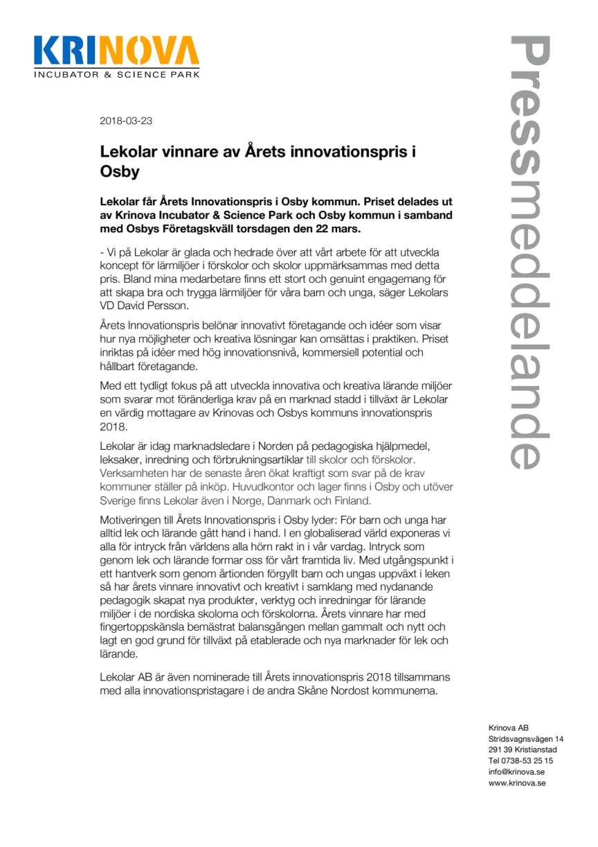 Lekolar vinnare av Årets innovationspris i Osby