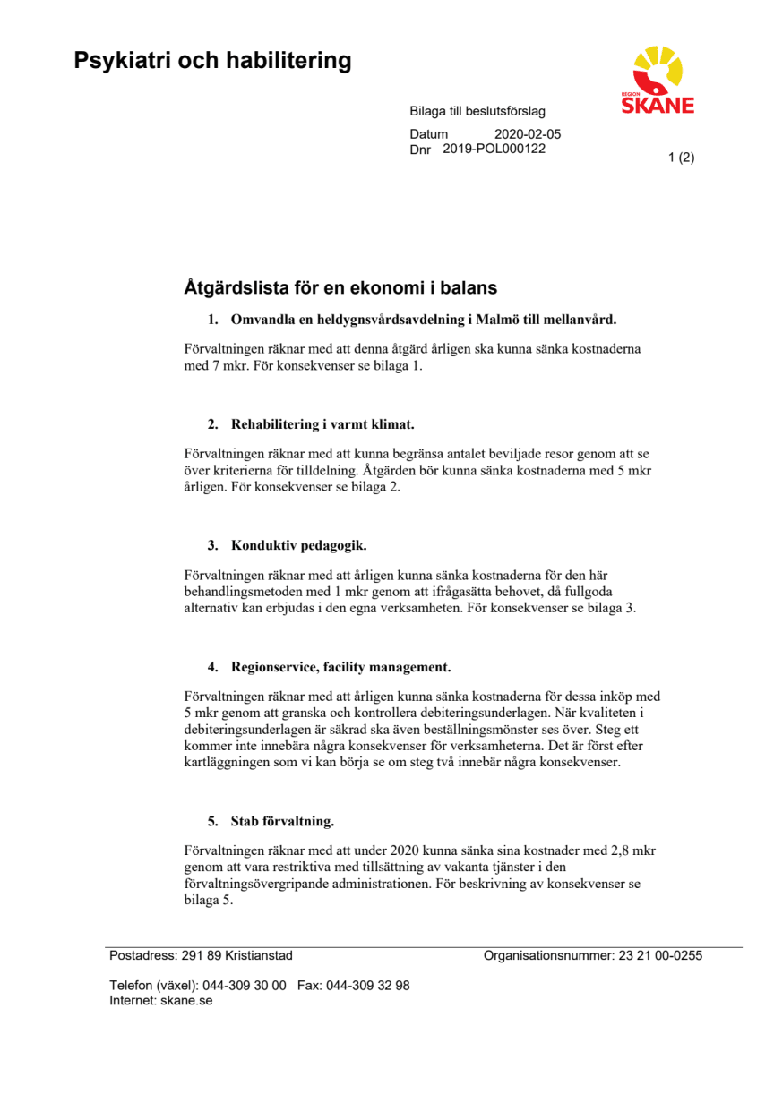 Sparåtgärder klubbade i PHHN 202013