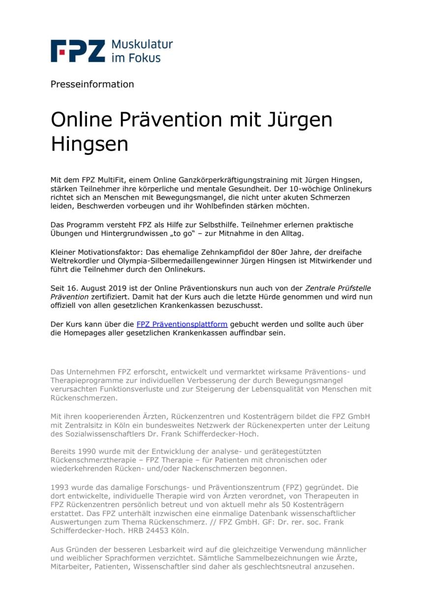 Online Prävention mit Jürgen Hingsen