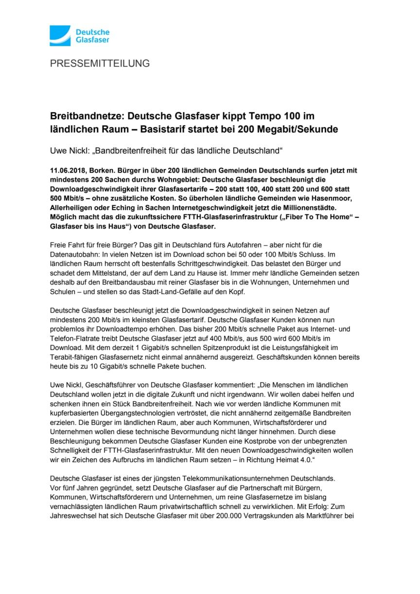 Breitbandnetze: Deutsche Glasfaser kippt Tempo 100 im ländlichen Raum – Basistarif startet bei 200 Megabit/Sekunde