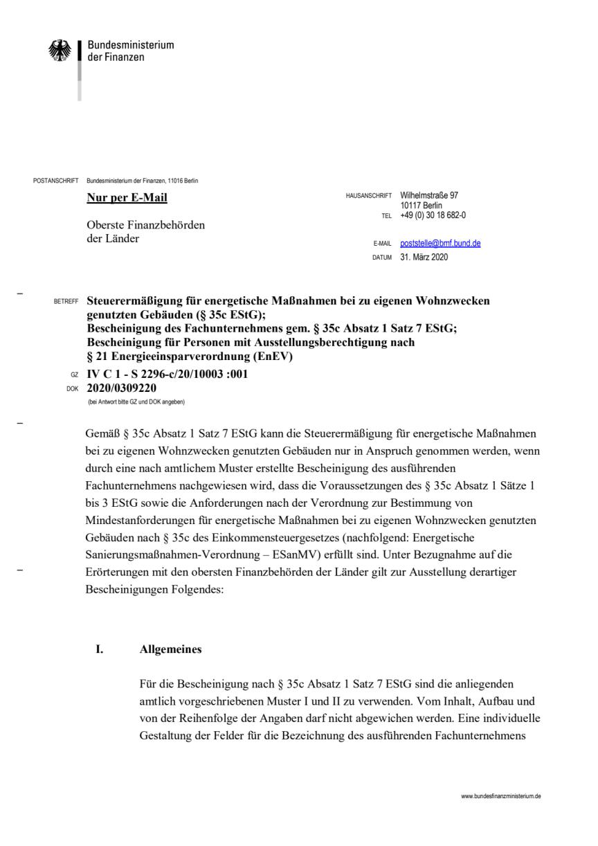 BMF Schreiben vom 31.03.2020
