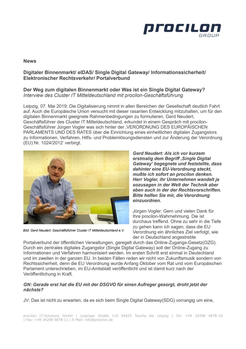 Der Weg zum digitalen Binnenmarkt oder Was ist ein Single Digital Gateway?
