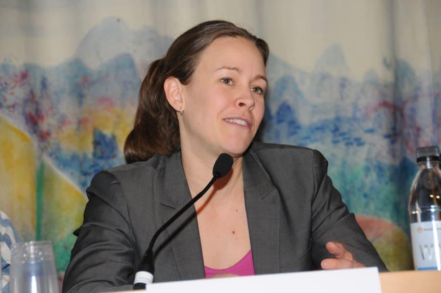 Maria Wetterstrand (mp) vid Svensk Byggtjänsts byggpolitiska debatt på Nordbygg, 23/3 2010.