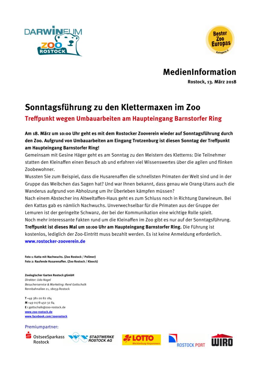 Sonntagsführung zu den Klettermaxen im Zoo - Treffpunkt wegen Umbauarbeiten am Haupteingang Barnstorfer Ring