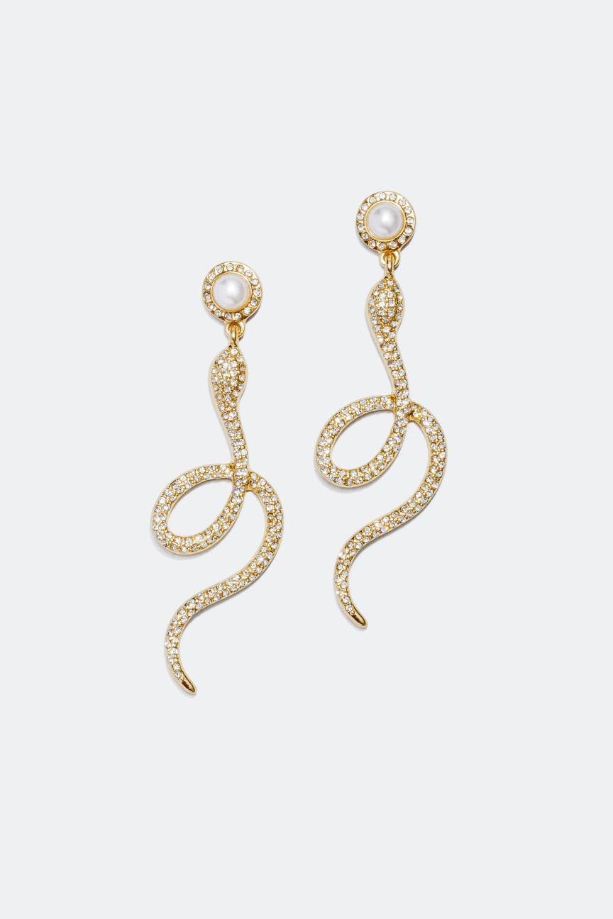 Snake Earrings with Rhinestones