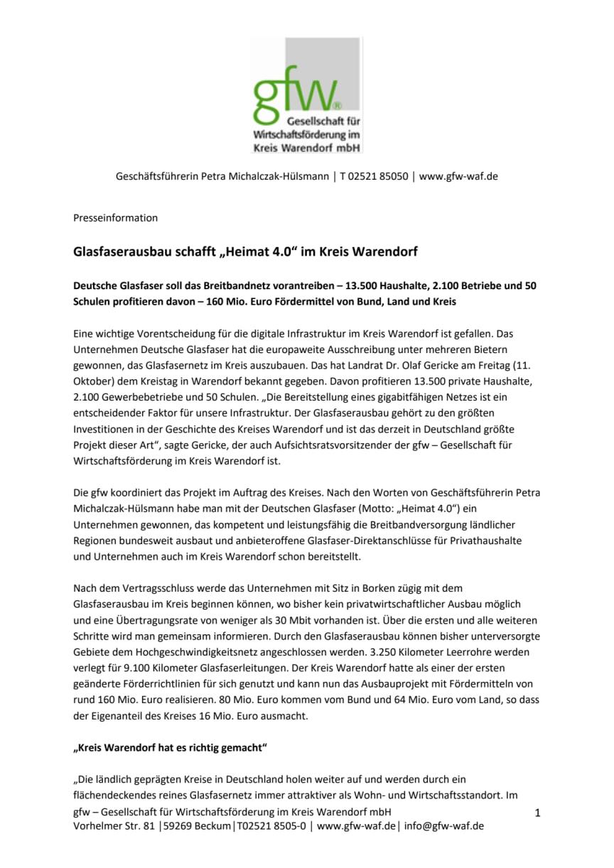 """Pressemitteilung Glasfaserausbau schafft """"Heimat 4.0"""" im Kreis Warendorf"""