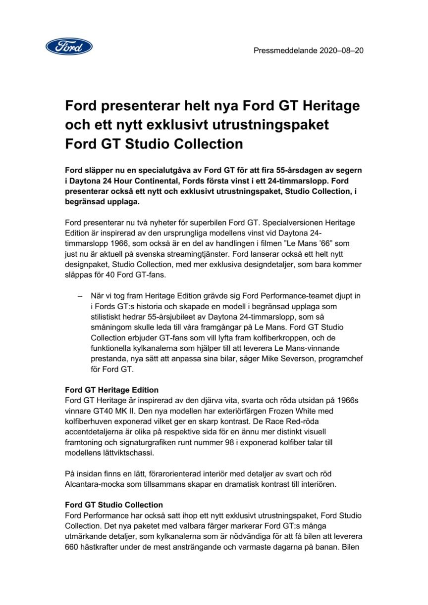 Ford presenterar helt nya Ford GT Heritage och ett nytt exklusivt utrustningspaket Ford GT Studio Collection