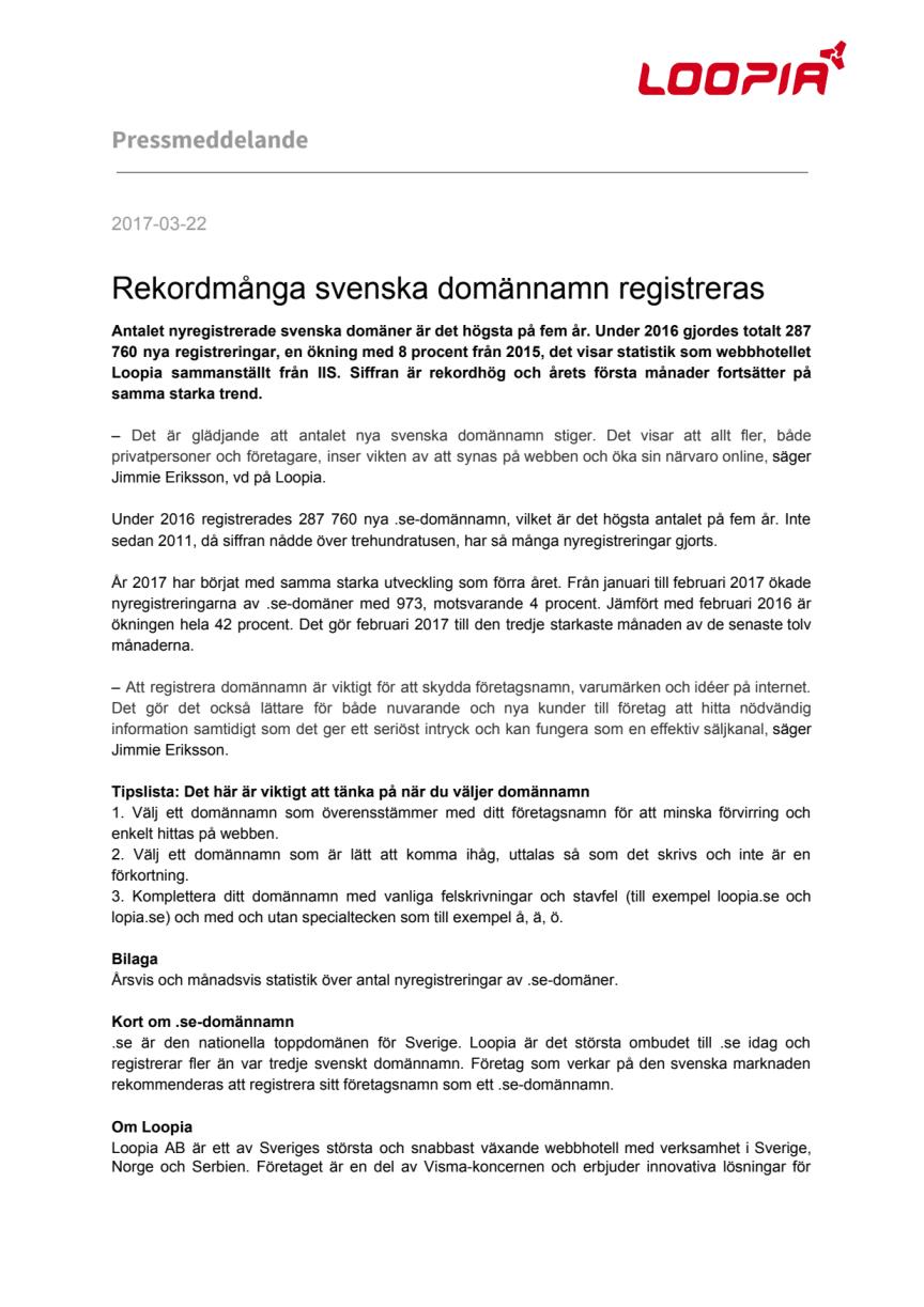 Rekordmånga svenska domännamn registreras