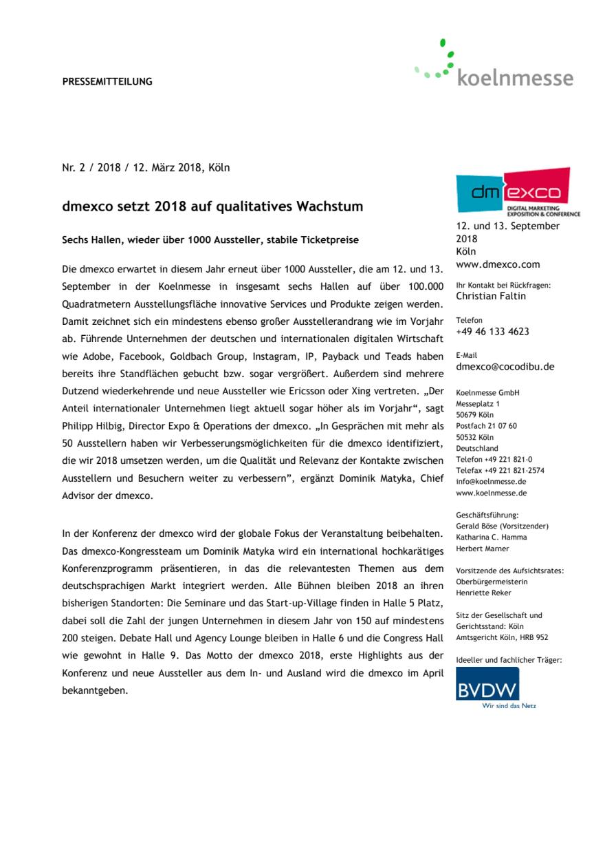 dmexco setzt 2018 auf qualitatives Wachstum