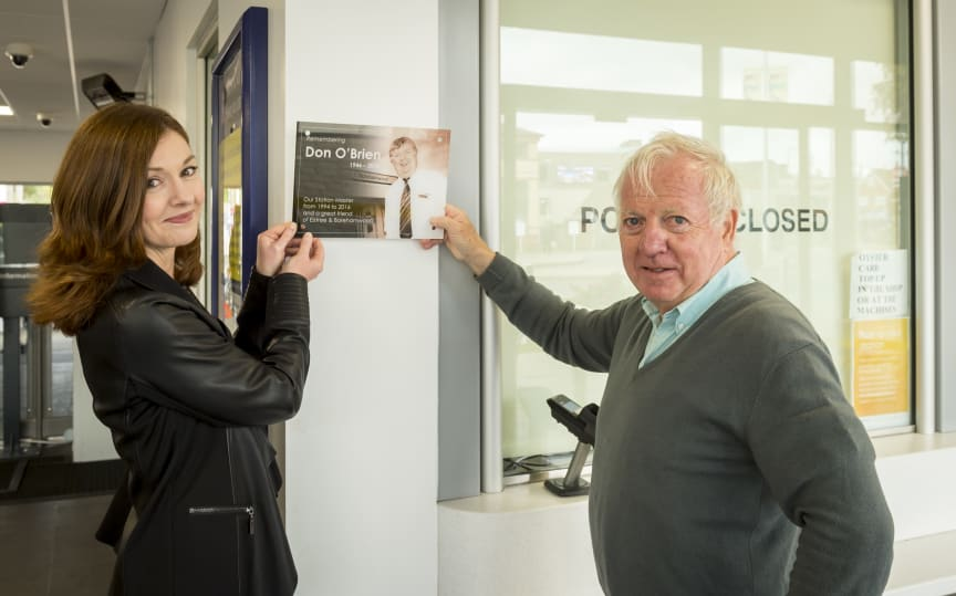Sharon Dartington and Bob Redman show where the memorial plaque will be placed