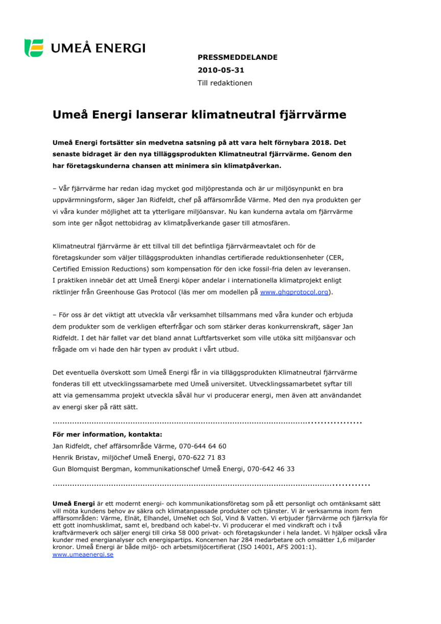 Umeå Energi lanserar klimatneutral fjärrvärme