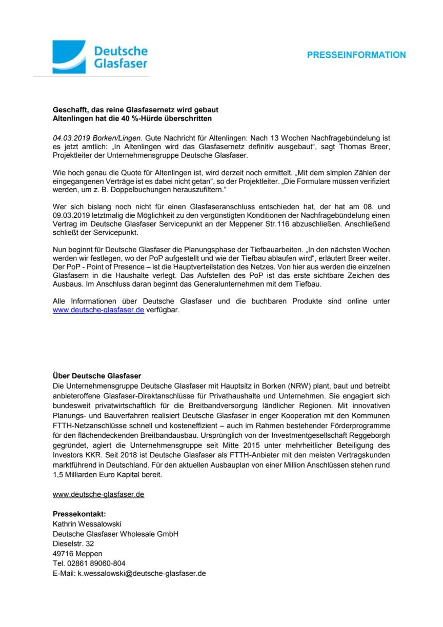 Altenlingen hat die 40 %-Hürde überschritten - das reine Glasfasernetz wird gebaut