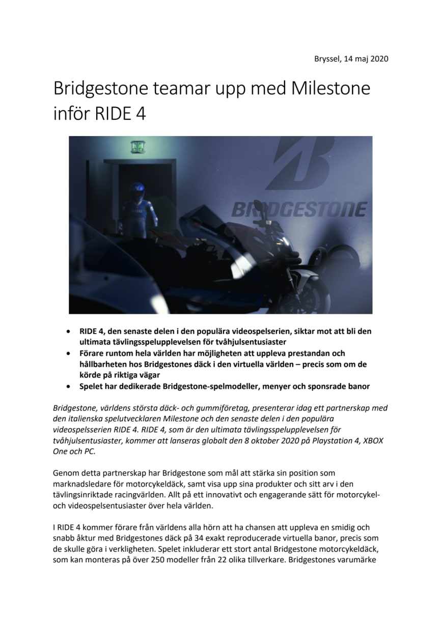 Bridgestone teamar upp med Milestone inför RIDE 4