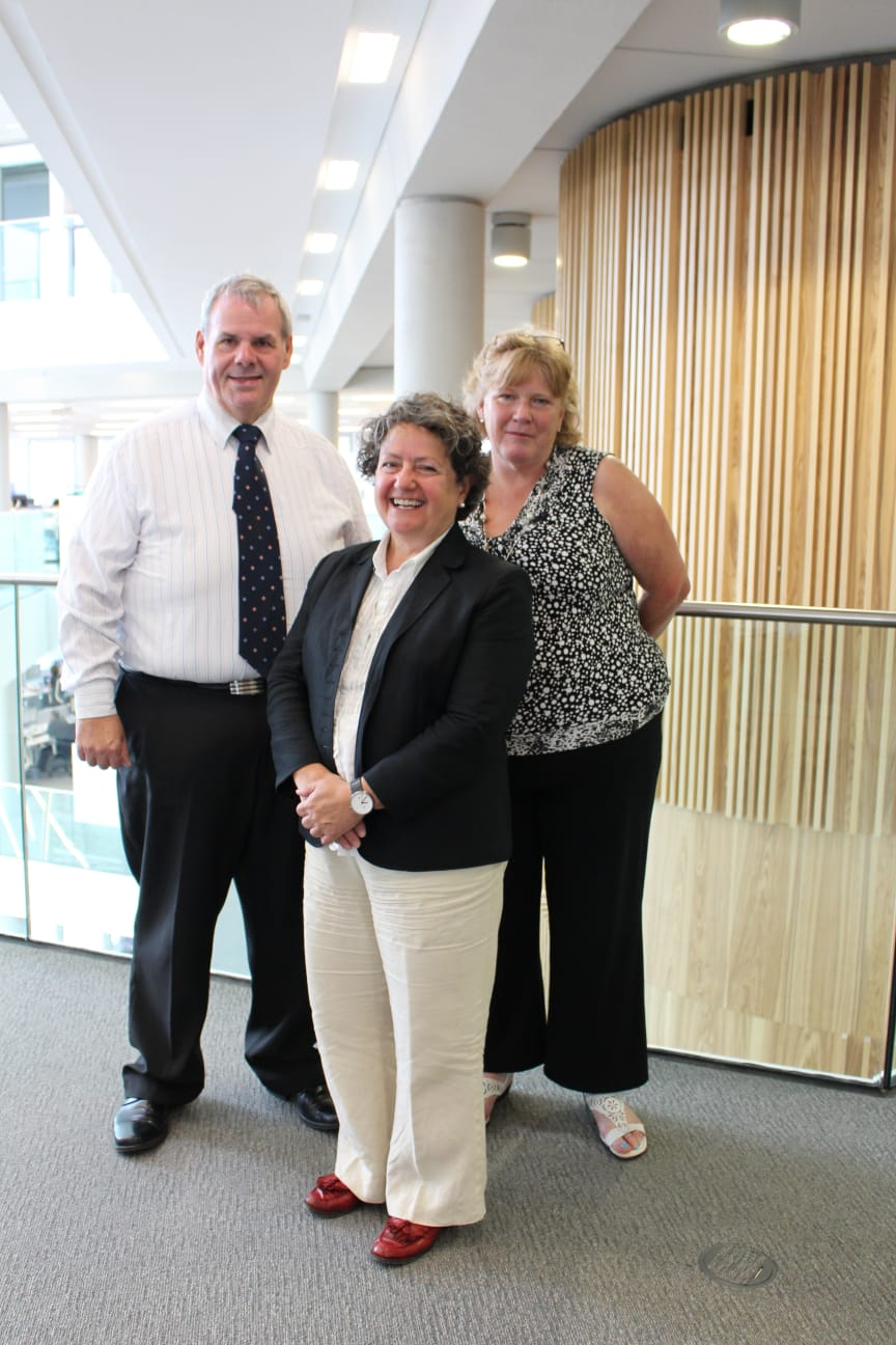 PRAISE: Council Leader Richard Farnell, Chief Social Worker for Adults in England Lyn Romeo and Director for Adult Services Sheila Downey