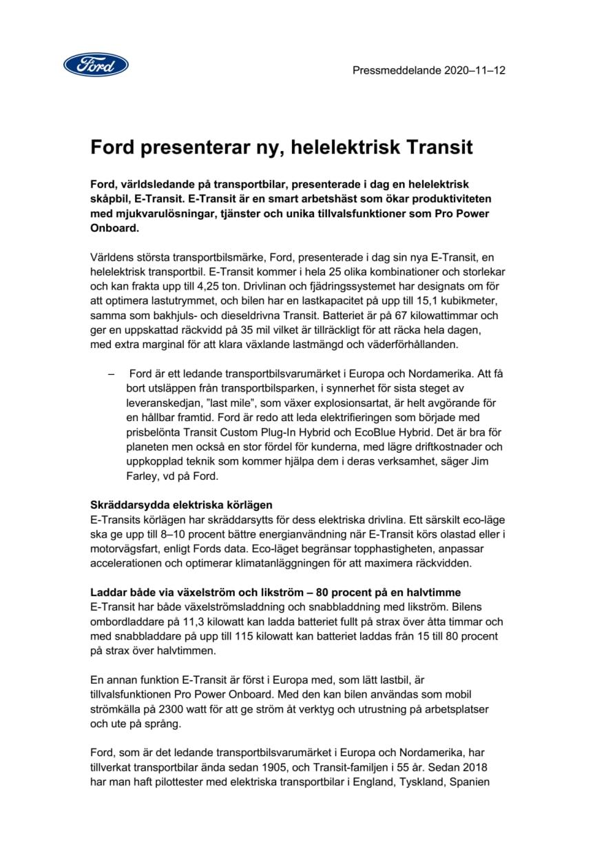 Ford presenterar ny, helelektrisk Transit