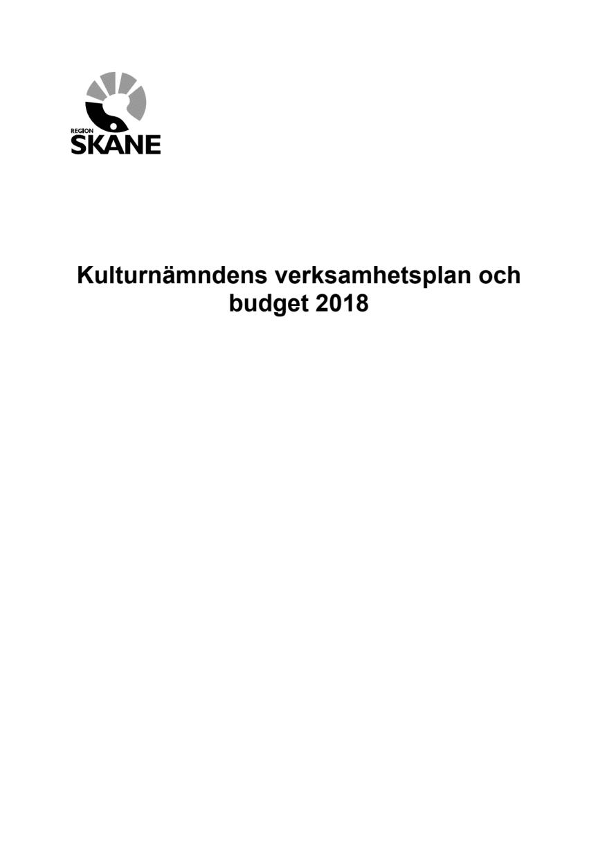 Kulturnämndens verksamhetsplan och budget 2018