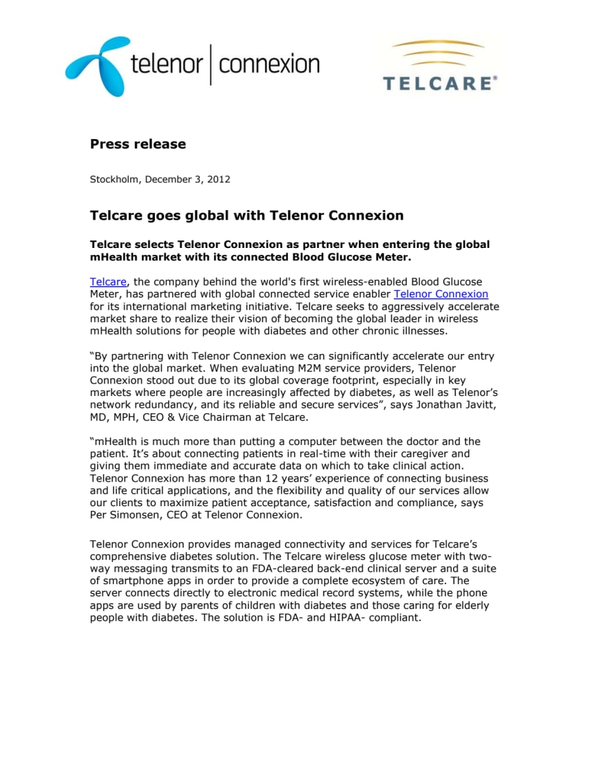 Telcare goes global with Telenor Connexion