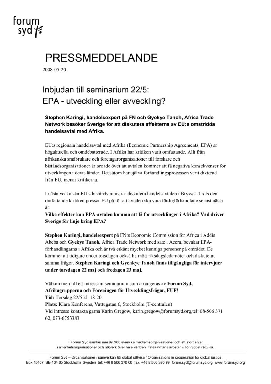 EPA-utveckling eller avveckling?