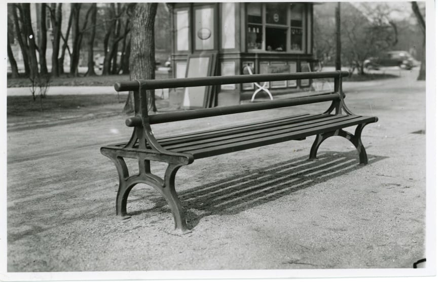Double backed bench, 19th century. Stock Photography: The street office. 1920-1992. Traffic office archive. Stockholm city.