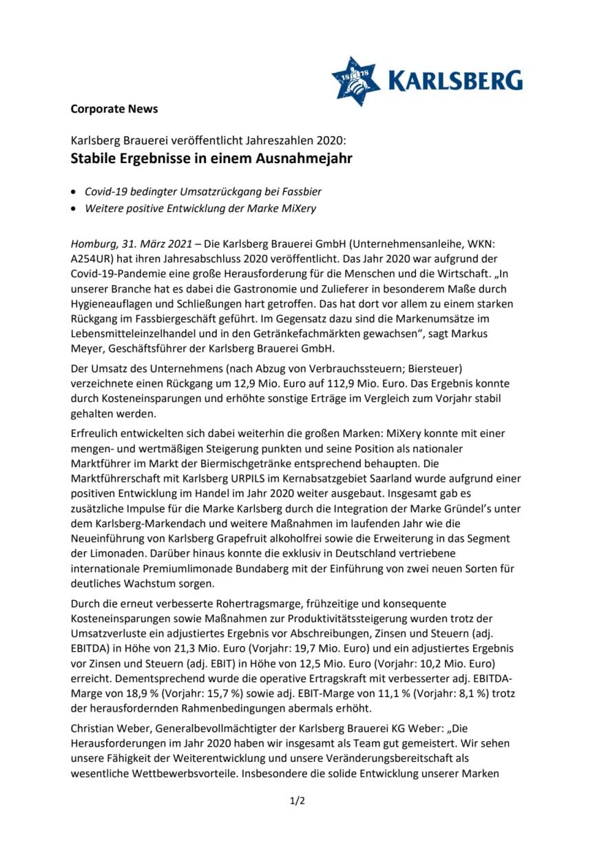 Presseinfo Jahresabschluss 2020 der Karlsberg Brauerei GmbH