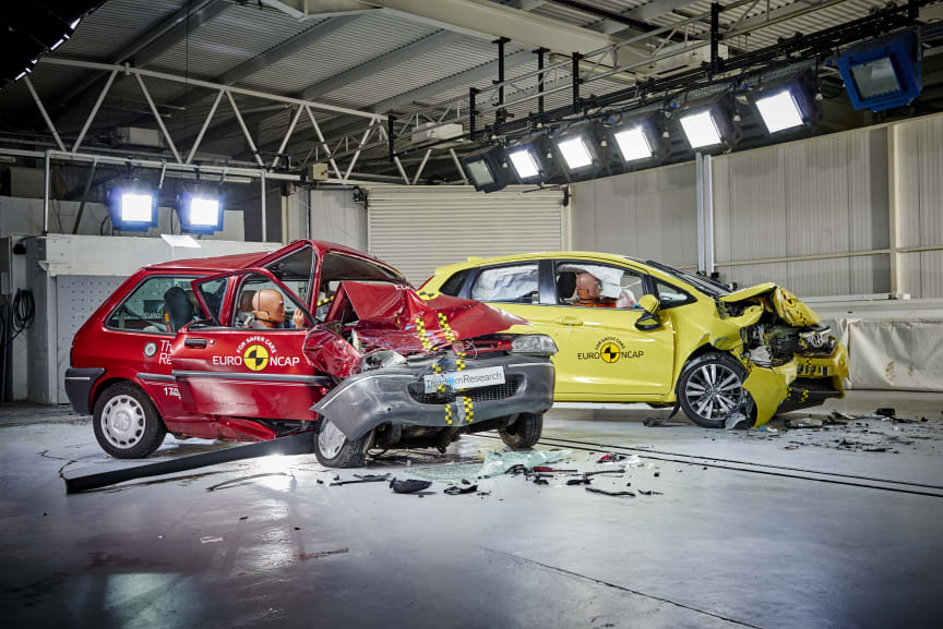 Euro NCAP 20th - the 1997 Rover 100 & a current Honda Jazz post-crash test. The Rover 'safety cell' is severely compromised, the driver compartment of the Jazz remains intact (2)