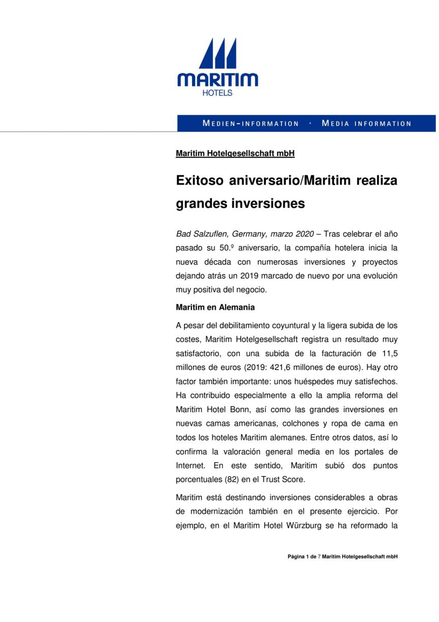 Maritim Hotels Exitoso aniversario 2020