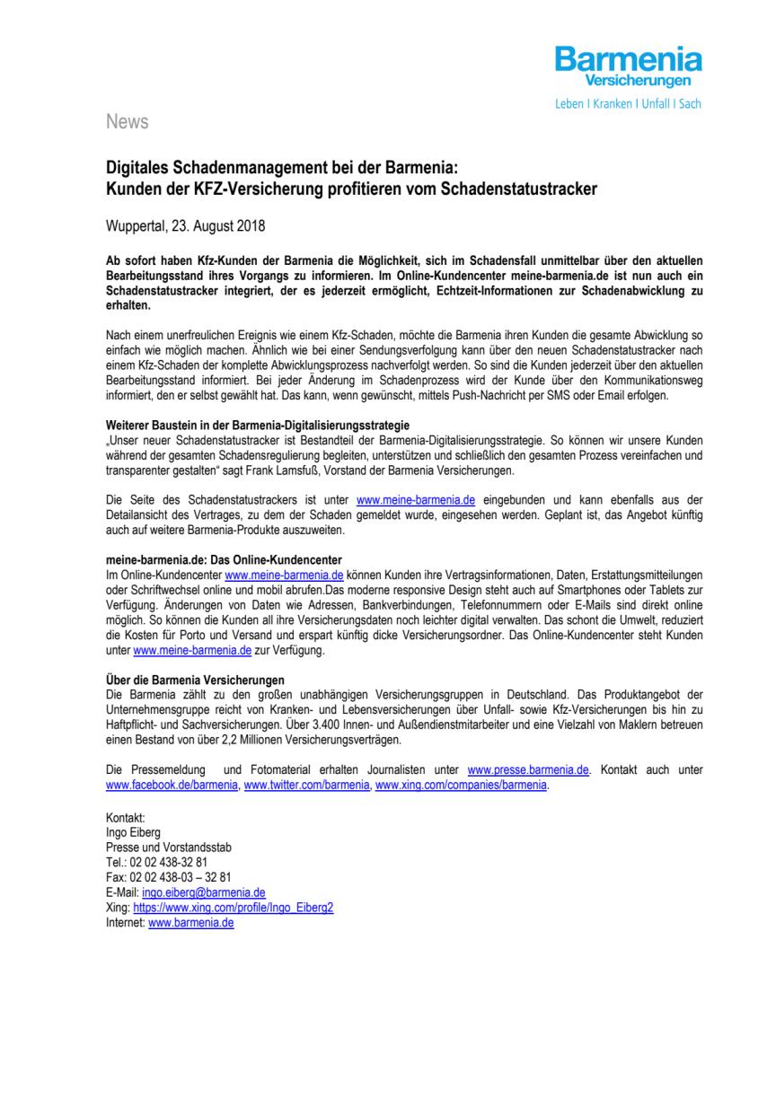 Digitales Schadenmanagement bei der Barmenia: Kunden der KFZ-Versicherung profitieren vom Schadenstatustracker