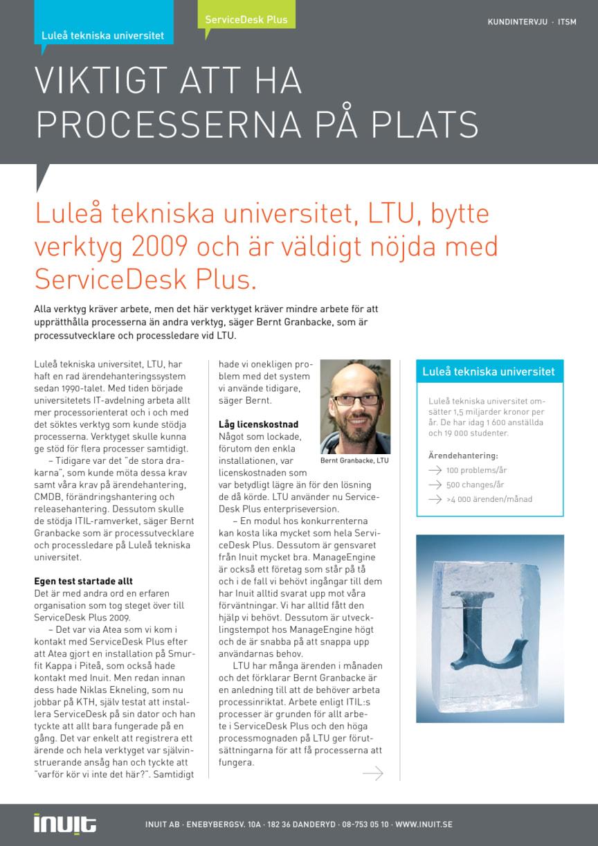 Viktigt att ha ITIL-processerna på plats för Luleå Tekniska Universitet