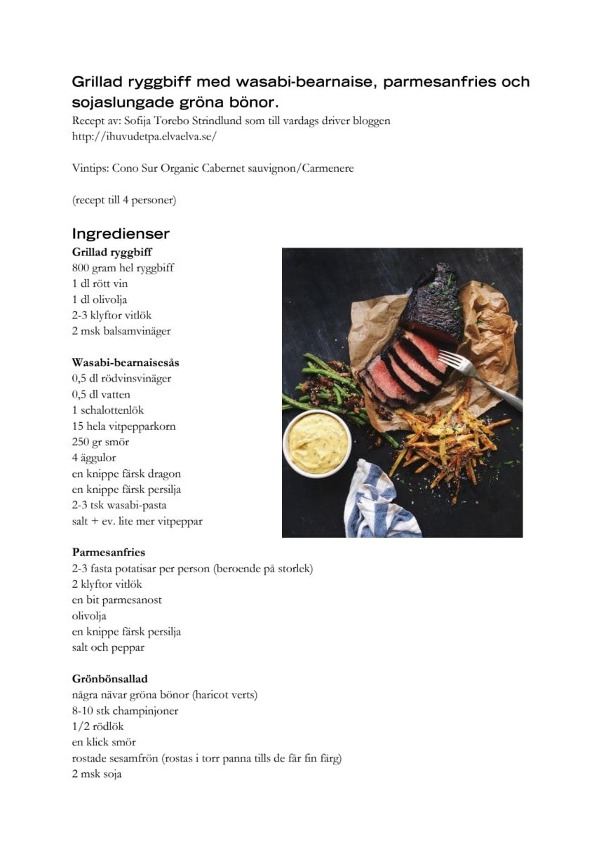 Vinnande receptet Grillad ryggbiff med wasabi-bearnaise, parmesanfries och sojaslungade gröna bönor