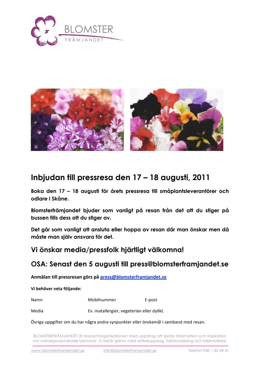Inbjudan till pressresa 17-18 augusti, 2011