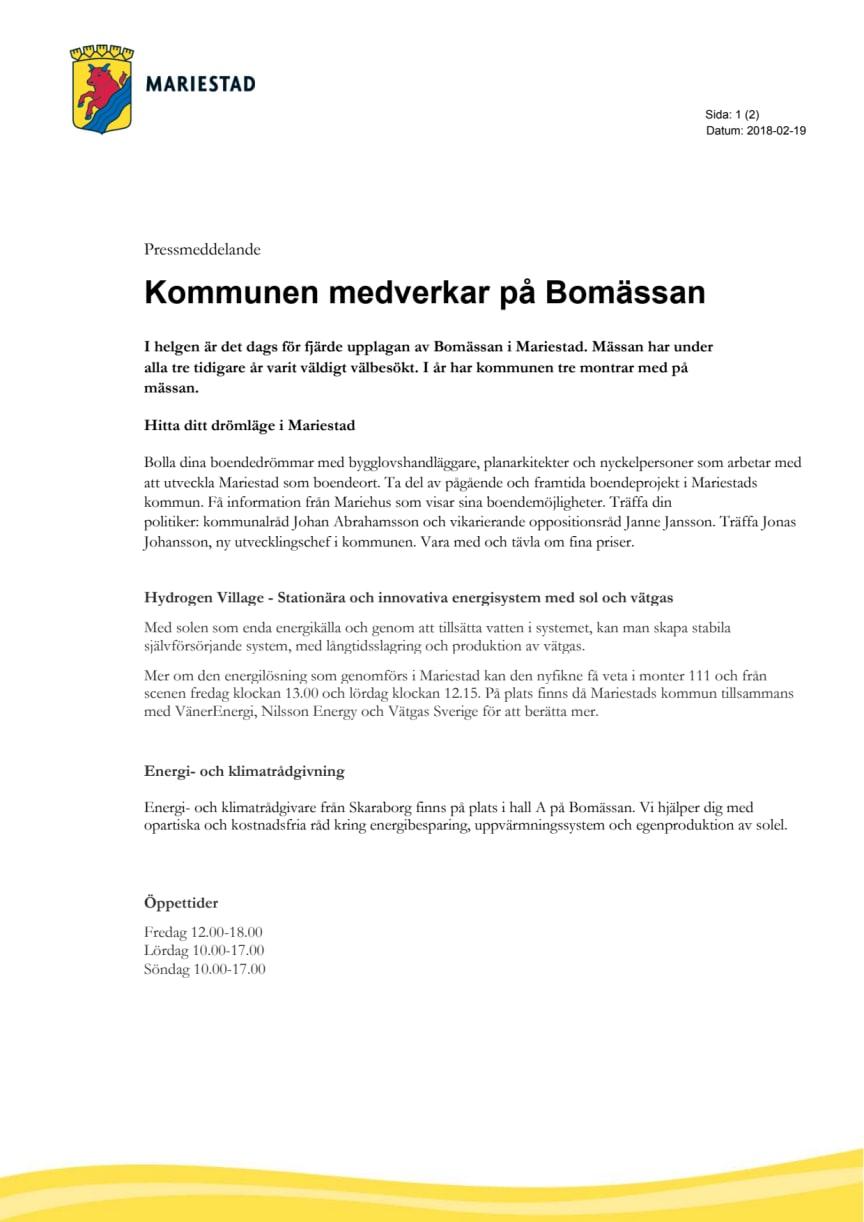 Kommunen medverkar på Bomässan