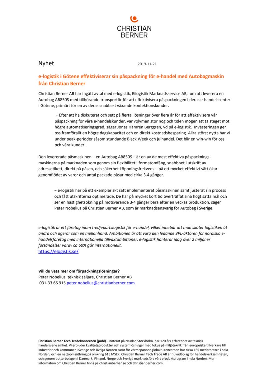 e-logistik i Götene effektiviserar sin påspackning för e-handel med Autobagmaskin från Christian Berner