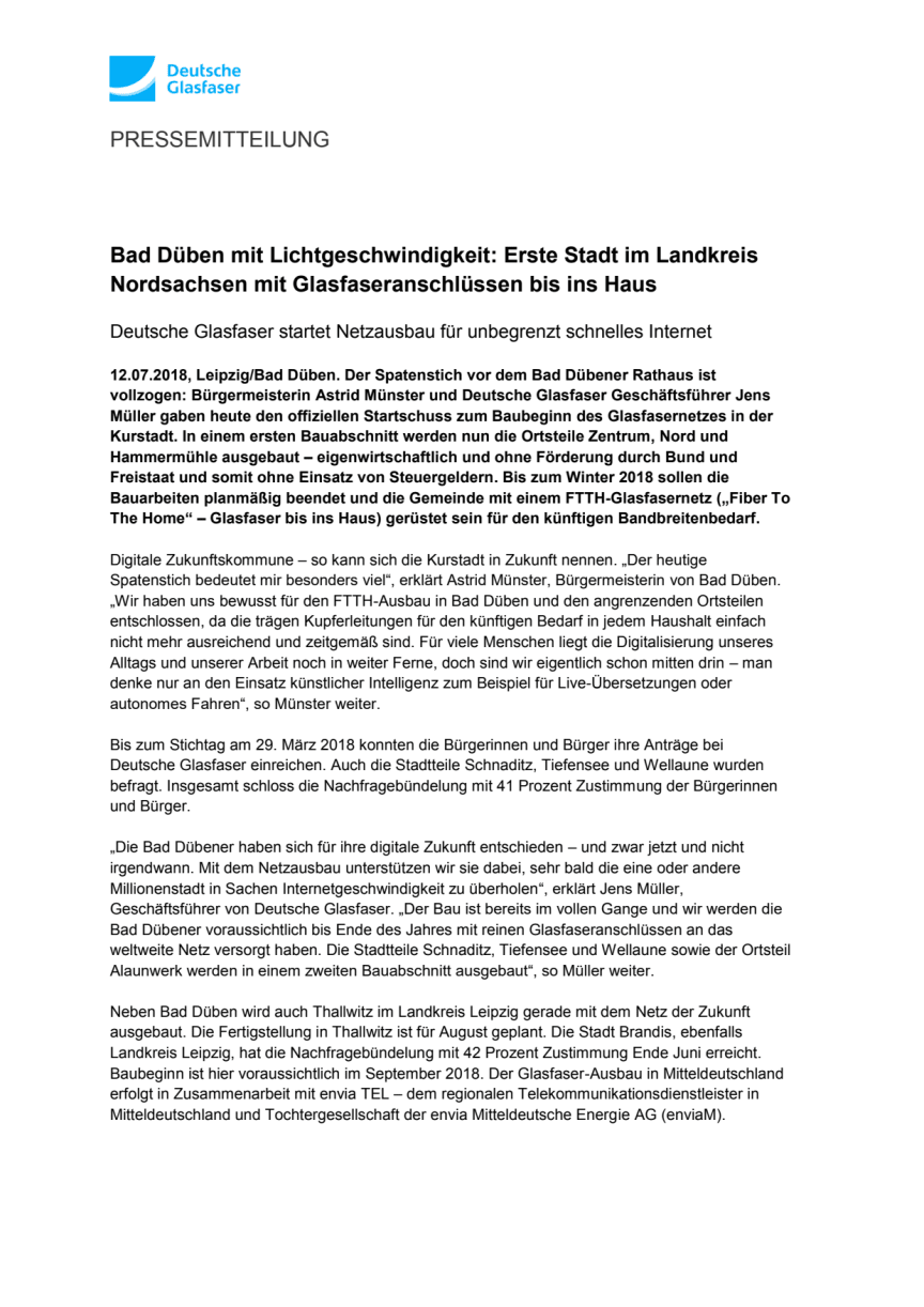 Bad Düben mit Lichtgeschwindigkeit: Erste Stadt im Landkreis Nordsachsen mit Glasfaseranschlüssen bis ins Haus