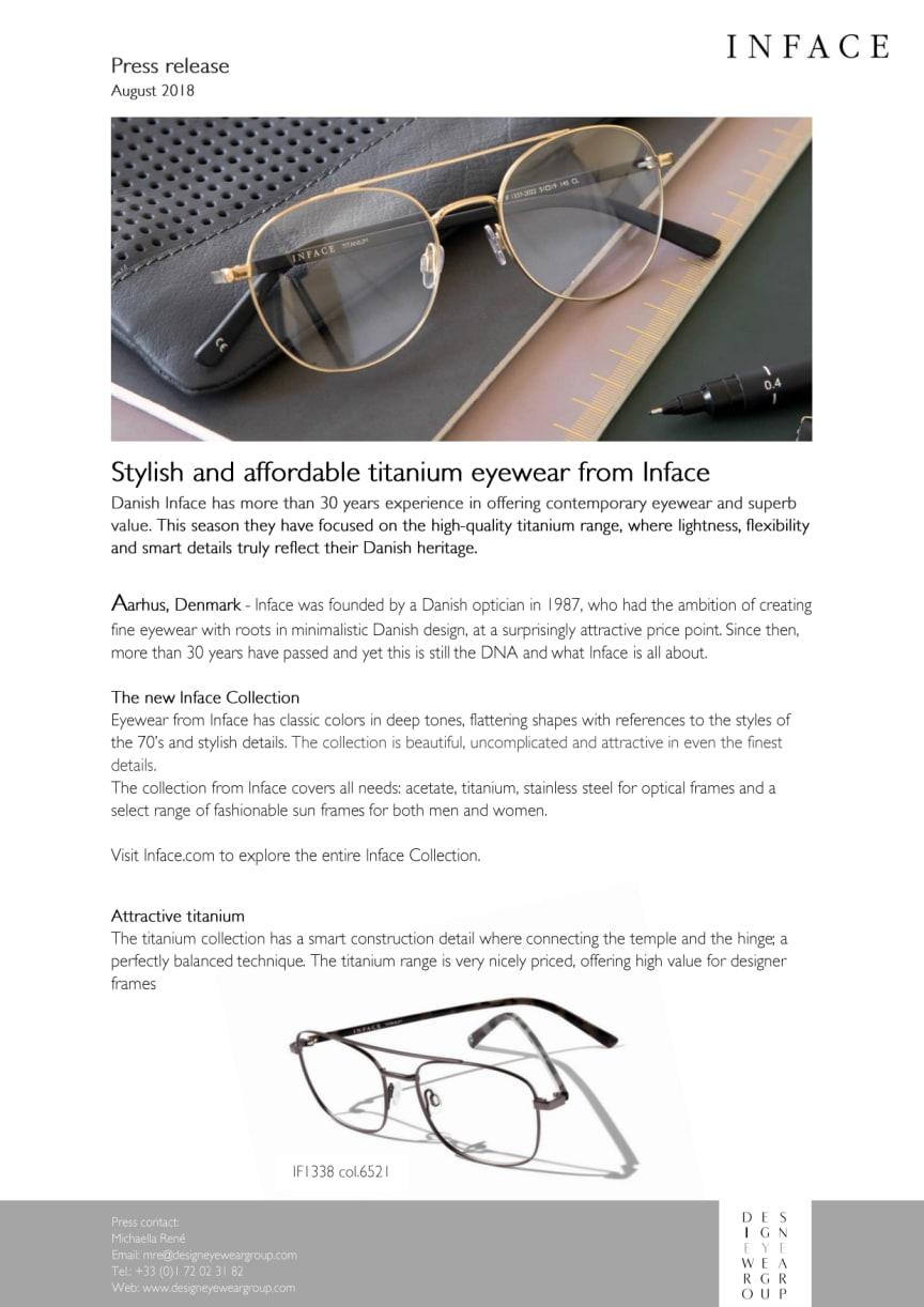 Stylish and affordable titanium eyewear from Inface